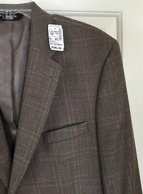 Jos A Bank Signature Collection Brown Windowpane Sport Coat Gordon 42R New! $595