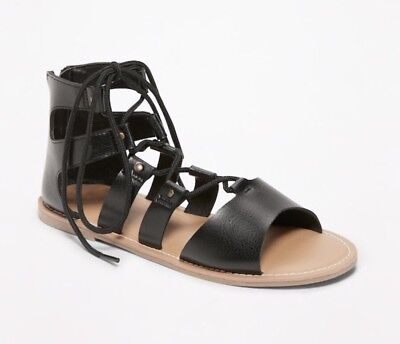 79954d46142 NEW! OLD NAVY Girls Size 13 Black Gladiator Ankle Sandals with Heel ...