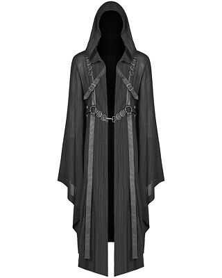 Punk Rave Mens Gothic Hooded Cloak Jacket Black Dieselpunk Vampire Occult LARP