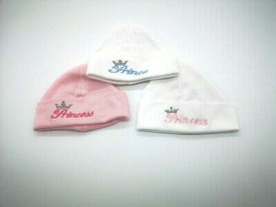 Babys  Embroidered PRINCE / PRINCESS cotton Hat  boys girls NEWBORN ONLY