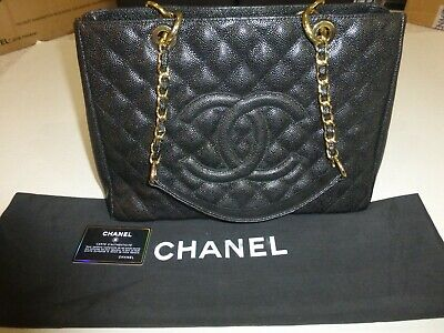3f5599275399 Auth Chanel Black Quilt Caviar CC Chain Grand Shopping Large Tote Shoulder  Bag