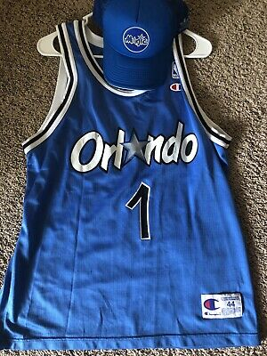 cf0683d0 Vintage Champion Orlando Magic Penny Shaq #1 Black Jersey Size 44 Large AND  HAT
