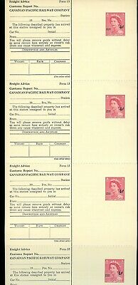 Lot 76257 Canada Ux86 Unused Full Strip Of 4 Canadian Pacific Railway Co Cpr
