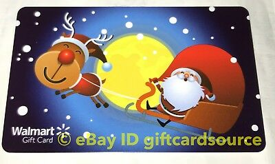 "Walmart Us Gift Card ""Santa & Rudolf On Sleigh"" 2018 No Value New Collectible"