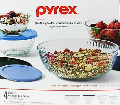 Pyrex 4-piece Glass Mixing Bowl Set with Colorful Lids New