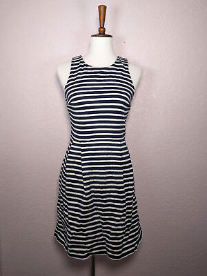 Ann Taylor LOFT Classic Navy Blue White Striped Fit N Flare Dress 100% Cotton 6