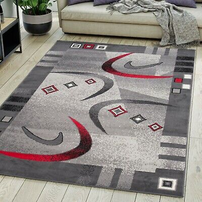 Modern Grey Red Rug for Living Room Short Pile Contemporary Carpet Small XL