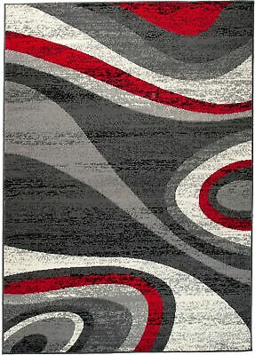 Modern Grey Red Rug for Living Room Short Pile Contemporary Carpet XS - XL