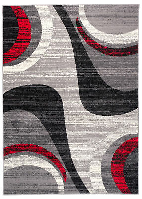 Modern Grey Rug for Living Room Short Pile Contemporary Carpet Small XL Large