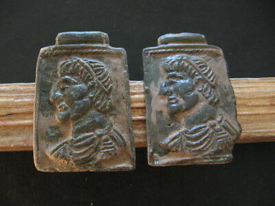 2 PATRICIANS BUST ANCIENT ROMAN BRONZE VOTIVE PLAQUES 1-2 ct. AD