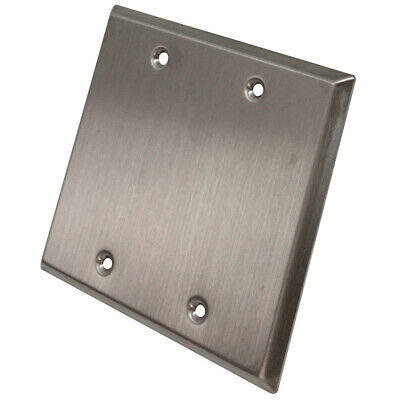 Seismic Audio Blank Stainless Steel 2 Gang Wall Plate - For Cable Installation