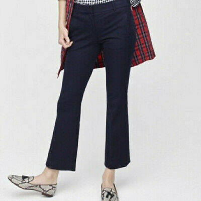 J. CREW women's Solid Navy TEDDIE Stretch Cotton Kick Flare Crop Pants, sz 000