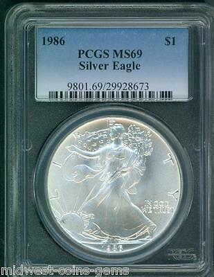 1986 American Silver Eagle ASE S$1 PCGS MS69 Premium Quality BEAUTIFUL