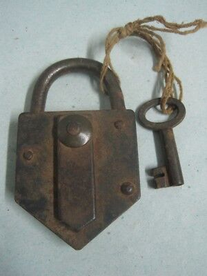 Antique big iron padlock with Key