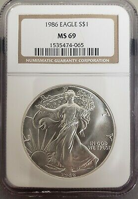 1986 American Silver Eagle - NGC Certified MS69 - Great Looking Piece