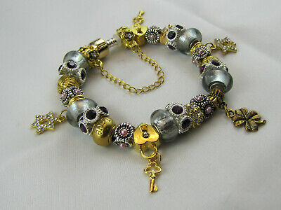 "FREE POST 20cm BEAUTIFUL 925 STAMPED EURO STYLE CHARM BRACELET ""GOLD & SILVER"""