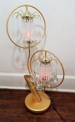 Spectacular Hollywood Regency Mid Century 2-Tier Waterfall Lamp w/ Crystal Glass