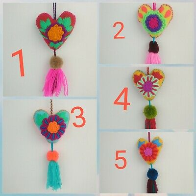 Heart Tassel Pom Pom Hand Embroidered - SOLD SEPERATELY - Mayan Mexican Folk Art