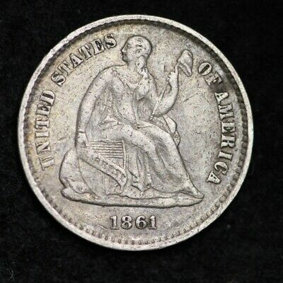 1861 Seated Liberty Half Dime CHOICE XF+/AU FREE SHIPPING E241 JNE