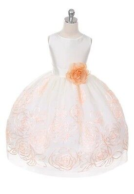 New Ivory Peach Flower Girls Dress Sz 10 Party Holidays Christmas Easter Wedding