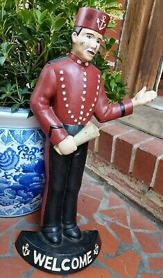 "Bellhop Door Stop Navy Sailor Welcome Sign Old Painted Cast Iron 18""Tall 7+LBS"