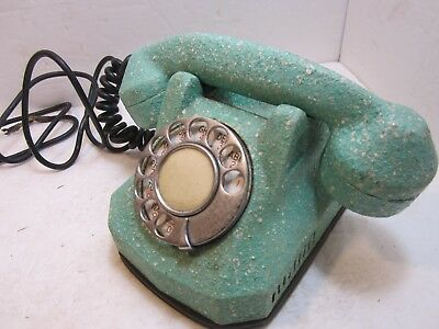 Art Deco Automatic Electric AE40 Monophone Phone Telephone Textured Turquoise