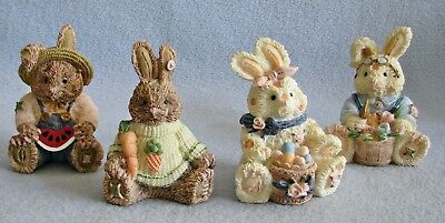 2 sets PATCHWORK EASTER  BUNNIES BUNNY RABBITS holiday decor basket eggs carrot