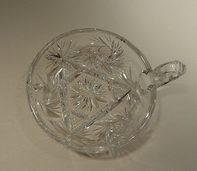 Vintage Cut Glass Nappy Dish with Handle