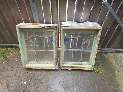 Vintage lead light windows (2 Pieces sold together)