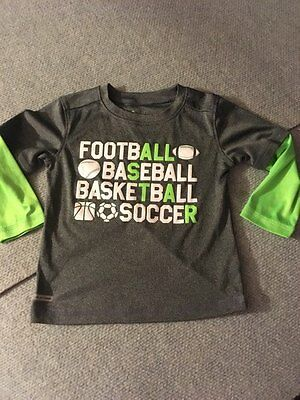 Jumping Beans All Sports Gray Long Sleeve Shirt Toddler Boy's Size 2T COOL!