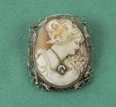 Antique Cameo Shell Lady Pendant Brooch 14K WHITE GOLD Rare Pink Diamond