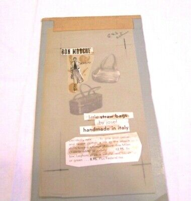 Bon Marche' advertsing watercolor for straw purses by Josef of Italy