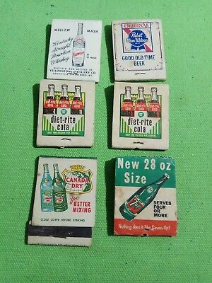 Diet rite cola 7up blue ribbon beer canada dry lot matchbook matches vtg rare