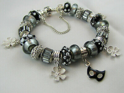 """FREE POST 22cm 925 SILVER STAMPED EURO STYLE CHARM BRACELET """" SILVER LINING """""""