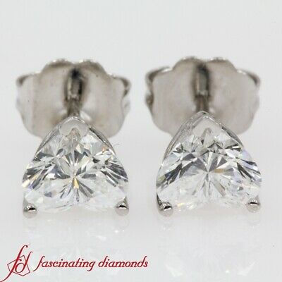 11906816c 1 Carat Heart Shaped Perfectly Matched Solitaire Diamond Stud Earrings For  Women