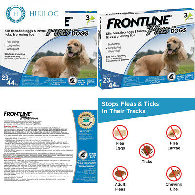 Frontline Plus for Dogs Medium Dog (23-44 pounds) Flea and Tick Treatment, 3...