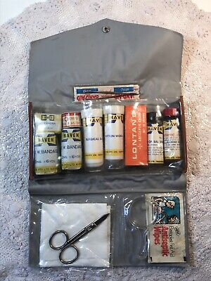 Vintage HAVEN Travel Medical FIRST AID KIT + Contents in Vinyl Case, 1st Aid