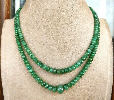 Natural Zambian Emerald precious gemstones Smooth Round Beaded Necklace gift