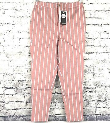 e546790fd2ff Boohoo Womens US Size 10 High Rise Stripe Skinny Jeans Dea Pink and White  NWT