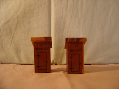 1960's  Wooden Outhouses Salt & Pepper Shakers