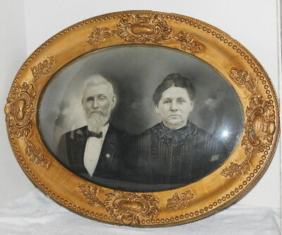 Antique Oval Victorian Gilt Picture Frame ~ Convex Glass ~ Ma & Pa Kettle 19x25