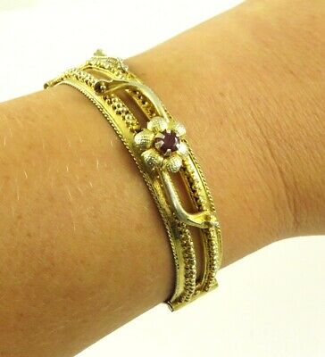 Antique c1920 Hand Made Indian Gilded Silver Ruby Bracelet 6 1/2 inches