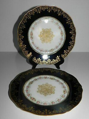 "2 Haviland Limoges France 9"" Cabinet Plates Cobalt Blue Gold Roses"