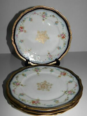 "4 Haviland Limoges France 9"" Cabinet Plates Cobalt Blue Gold Flowers"