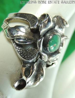Vintage Hand Crafted FLOWER TURQUOISE STERLING SILVER .925 Cocktail RING size 6