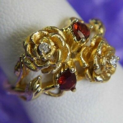 Garnet and Diamond Vermeil .925 Sterling Silver Rose Flower Estate Ring size 5.5