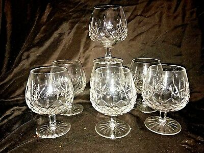 Set of 7 Signed Waterford Crystal Lismore 1957 Cut Glass Brandy Snifter Goblets