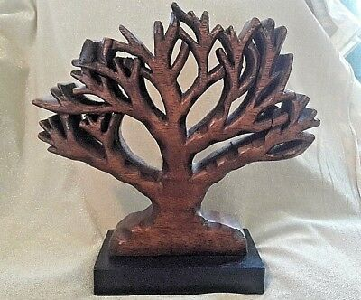 """Wooden Tree & base hand carved Sculpture beautiful wood, sits on table 9.75"""""""