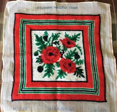 Vintage Yarn Flower Tapestry Needlepoint 1973-GREAT FOR PILLOW/FOOTSTOOL