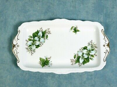 Royal Albert Trillium REGAL SNACK TRAY DISH Classy gold white green